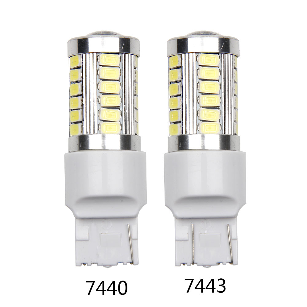 2X 7440 Led car bulbs 33SMD 5630 Xenon White W21W High power 7443 W21/5WLED lamp Bulbs car light source Reverse Steering Driving 1pcs car led dc12v h8 fog lamp bright led light bulbs drl 33 5630 smd with lens xenon white ice blue yellow 2z9