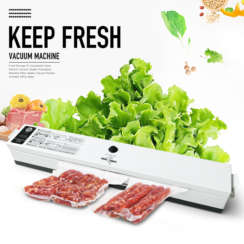 Household Food Vacuum Sealer Packaging Machine 110V 220V Film Sealing Sealer Vacuum Packer 15 Pcs Bags Vacuum Sealer