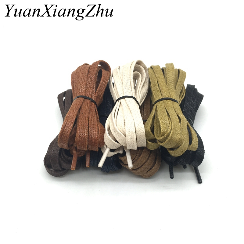 1 Pair Cotton Cord Flat Shape Shoelaces Unisex High Top Casual Leather Boot Shoe Laces Fashion Brand Waterproof Shoelace P-3