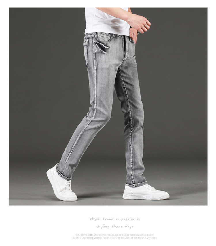 KSTUN Jeans Men Gray Stretch Slim Fit Vintage Spring and Autumn High Quality Yong Boys Denim Pants Men's Clothing 2019 Trendy 16
