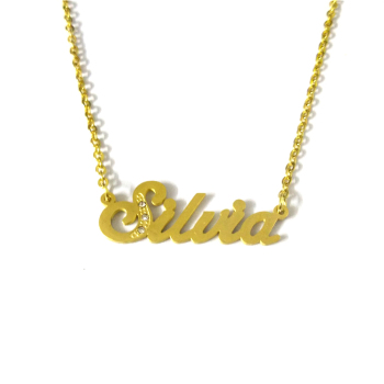 "FairLadyHood Custom Name Necklace ""Silvia"" Personalized Name Pendant Necklace 2018 Classic Letter Necklace Name Costumbre Collar"