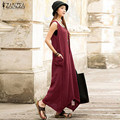 2016 Summer ZANZEA Women Casual Loose Sleeveless Long Dress Vintage Pockets Cotton Irregular Maxi Dresses Plus Size Vestidos