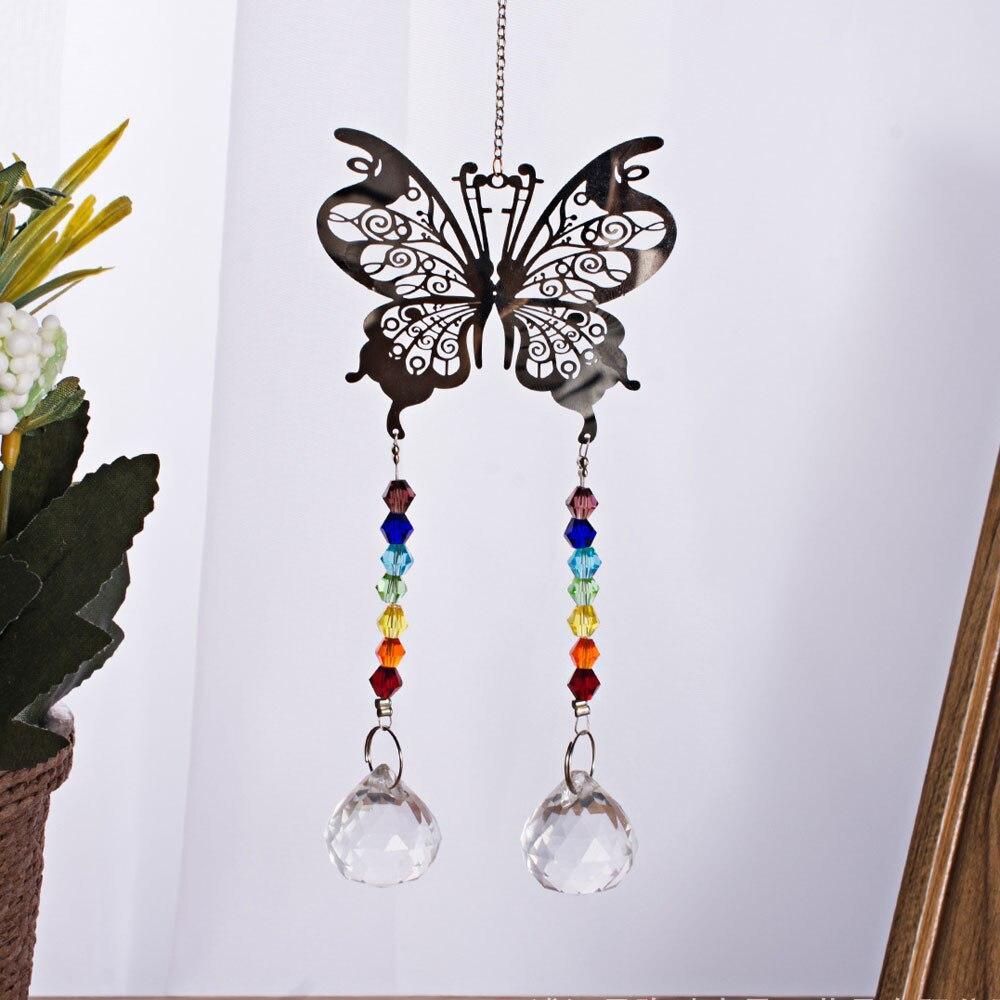 Crystal Mental Butterfly Suncatcher Dreamcatcher Rainbow Glass Beads Yard font b Garden b font Hanging Pendant