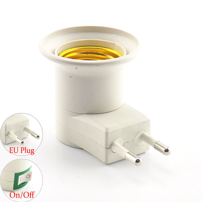 Wholsale Lot 10pcs Eu Plug E27 Base Led Bulb Light Sochet To Ac Power 110v 220v Lamp Holder On/off Switch Adapter Converter New Varieties Are Introduced One After Another Consumer Electronics Home Electronic Accessories