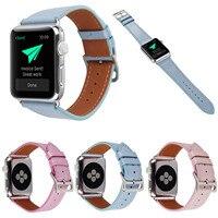 Pour Apple Montre Série 1 2 3 En Cuir Bande Remplacement Dragonne pour iWatch 42mm 38mm Bracelet Rose bleu Bracelets