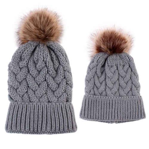 PUDCOCO 1 Pcs แม่ & เด็กทารกฤดูหนาวที่อบอุ่นถักหมวกขนสัตว์ Pom Pom หมวกถักหมวก Casual Ski Ball หมวก