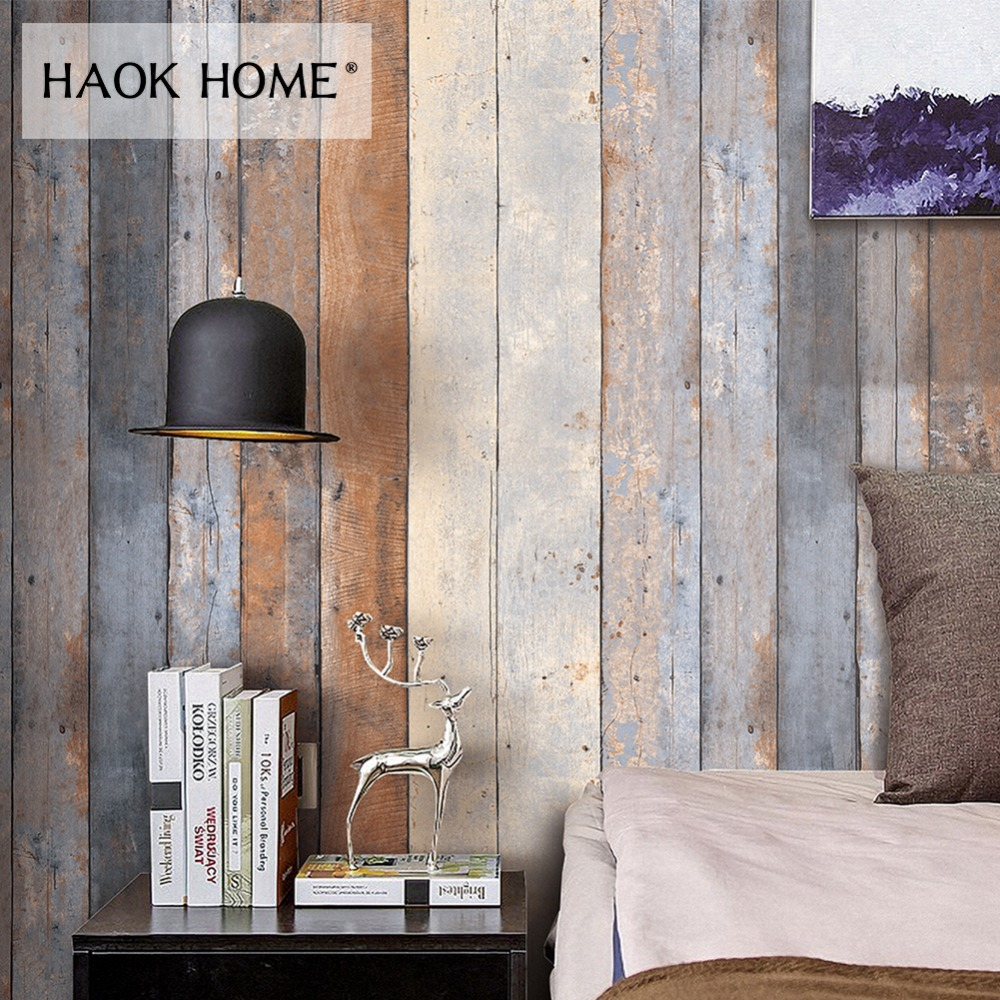 HaokHome Vintage Distressed Wood Wallpaper Rolls for wall 3d PVC Smoky Gray Wooden Plank Panel Mural Home Kitchen Bathroom Decor
