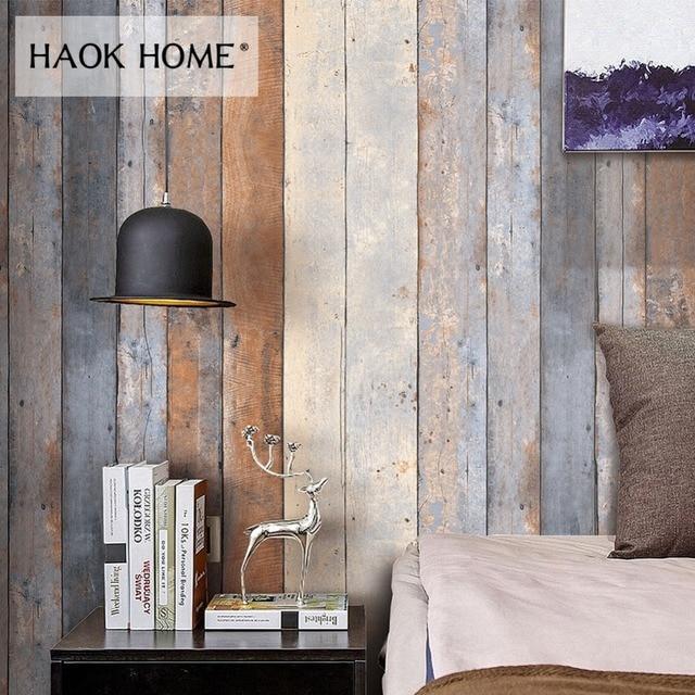 Haokhome Vintage En Bois Vieilli Rouleaux De Papier Peint Pour Mur