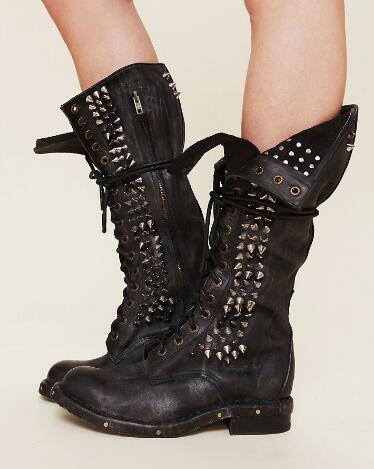 2017 Fashion Western Style Women Boots Black/ Brown Rivets Chunky Heels Botas Round Toe Shoes Genuine Leather Motorcycle Boots fashion genuine leather zipper med heel women mild calf boots round toe rivets metal runway handmade luxury motorcycle boots l68