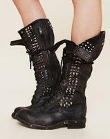 2017 Fashion Western Style Women Boots Black/ Brown Rivets Chunky Heels Botas Round Toe Shoes Genuine Leather Motorcycle Boots