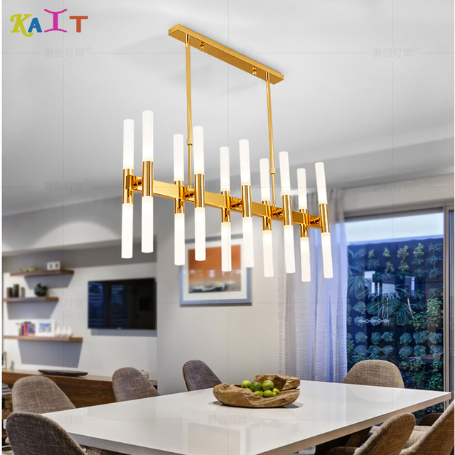 Gold Rectangular chandelier lighting modern for dining room G9 AC 110V 220V chandeliers ceiling Frosted Acrylic tube