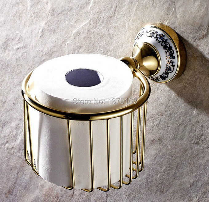 ФОТО Bathroom Accessories Polished Gold Brass Ceramic Flower Wall Mounted Toilet Paper Roll Holder Shower Storage Basket aba257