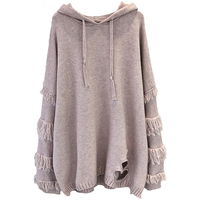 H.SA 2018 Winter Tassel Sweater and Jumpers Hooded Chic Pullover Long Sweaters Dress Broken Hole Chic Sweater Oversized Jumpers