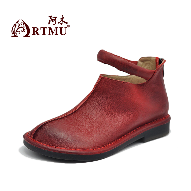 Artmu Original Women Boots Handmade Leather Shoes Mary Jane Vintage Shoes Woman Red Dress Shoes Wedding Shoes Gift Fashion-in Women's Flats from Shoes    2
