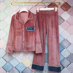 JRMISSLI, золотой бархатный женский пижамный комплект, Осень-зима, женский толстый пижамный комплект, толстый теплый мягкий женский домашний ко...