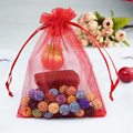 100pcs/lot Red Color Darwalbe Organza Bags 5x7cm Small Wedding Favour Gift bag Jewellery Pouches