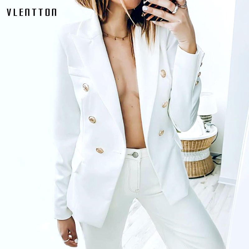 High Quality 2019 Designer Black White Jacket Blazer Coat Women's Gold Buttons Double Breasted Office Ladies Blazers Plus Size