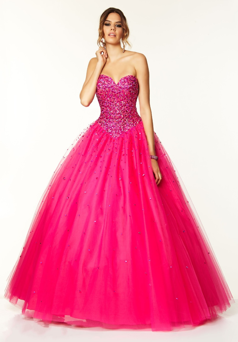 Abendkleider long 2014 crystal hot pink prom dress 2014 for Pink homecoming dresses