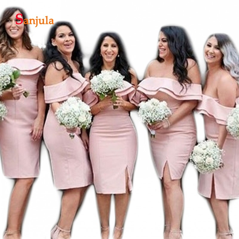 Pink Satin   Bridesmaid     Dresses   Short 2019 Newly Boat Neck Tiers Side Slit Knee Length Wedding Party   Dress   for Women D360