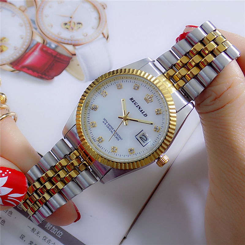 Fashion 2018 REGINALD Quartz Watch Men Woman Lovers Luxury Gold Fluted Bezel Diamond Dial Full Stainless Steel Luminous Clock