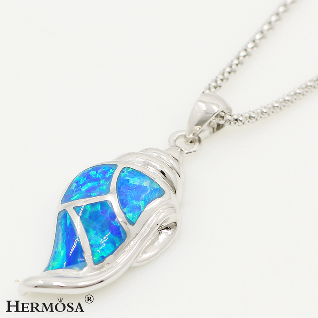 Unique Jewelry Conch Xmas Gifts Blue Australia Opal 925 Sterling Silver Necklace Pendant  1 3/8""