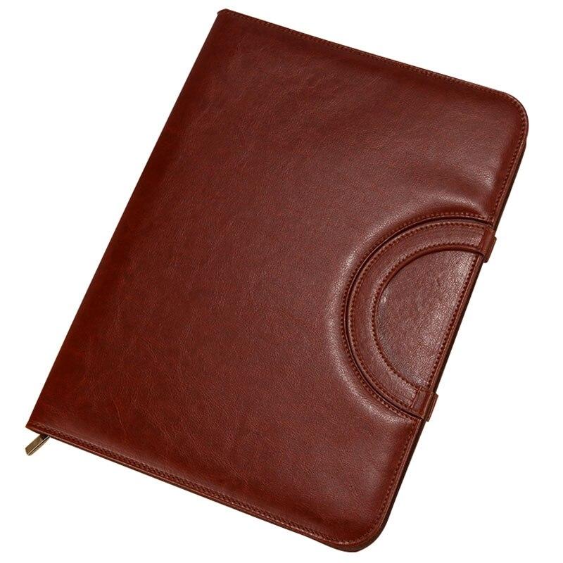 High Quality Leather A4 Folder Multi-Function Portable Zipper Bag Folder Manager Clip Sales Entrainment Calculator Amount