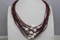 Бесплатная доставка >>>@@ as4476 пресноводного жемчуга 15strands красная кожа ожерелье 19-23 дюймов сплав