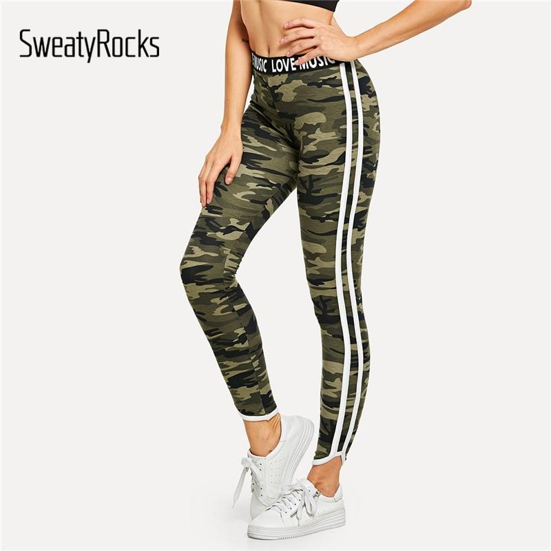 c4e5965ed5 SweatyRocks Camouflage Lettering Waistband Leggings Stripe Side Leisure  Ankle-Length Pant 2018 Autumn Stretchy Fitness Leggings
