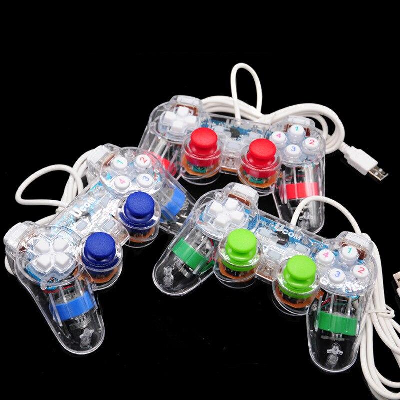 20 Pcs/Lot PC contrôleur de jeu vidéo LED transparent filaire USB PC Vibration Joypad manette pour PC 2000/XP/Win7/Vista livraison gratuite