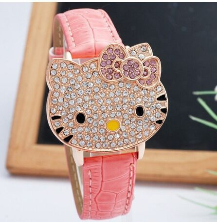 2018 new Leather Crystal Wrist Watch Kids Women Children Girls Cartoon Fashion Hello Kitty quartz watch clock Relojes 8A74 цена