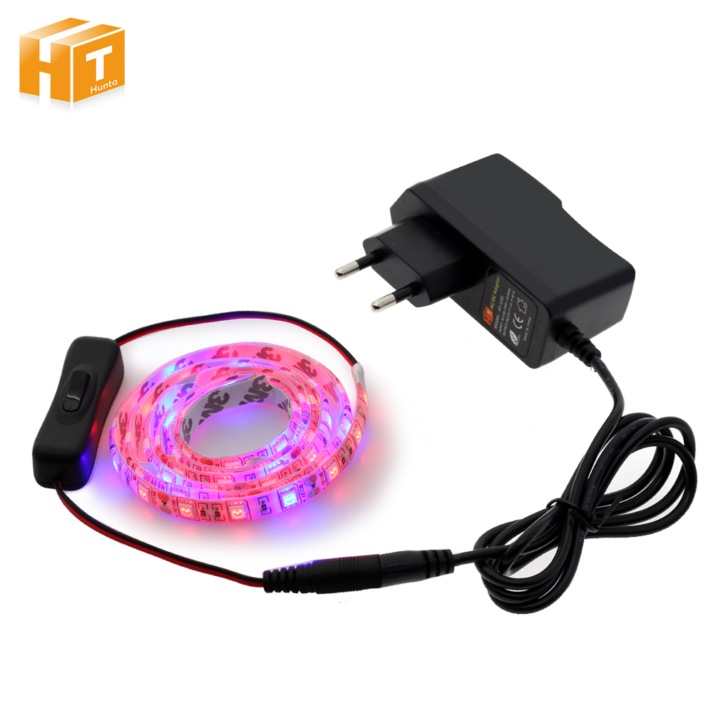 LED Strip Grow Light Set DC12V 5050 LED Strip Red : Blue 3:1 / 4:1 with Power Adapter.