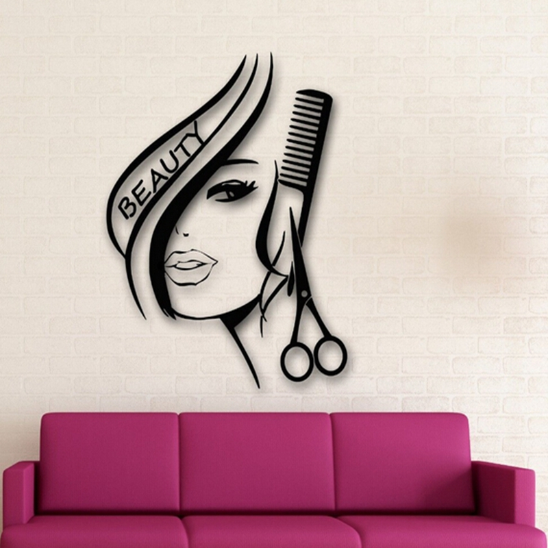 Removable hair beauty salon barbershop sexy girl wall - Stickers salon pas cher ...