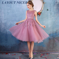 2019 Cheap Sweet 16 Homecoming Dresses Sheer Crew Neck Lace Appliques Beaded A line See Through Tea Length Cocktail Dress