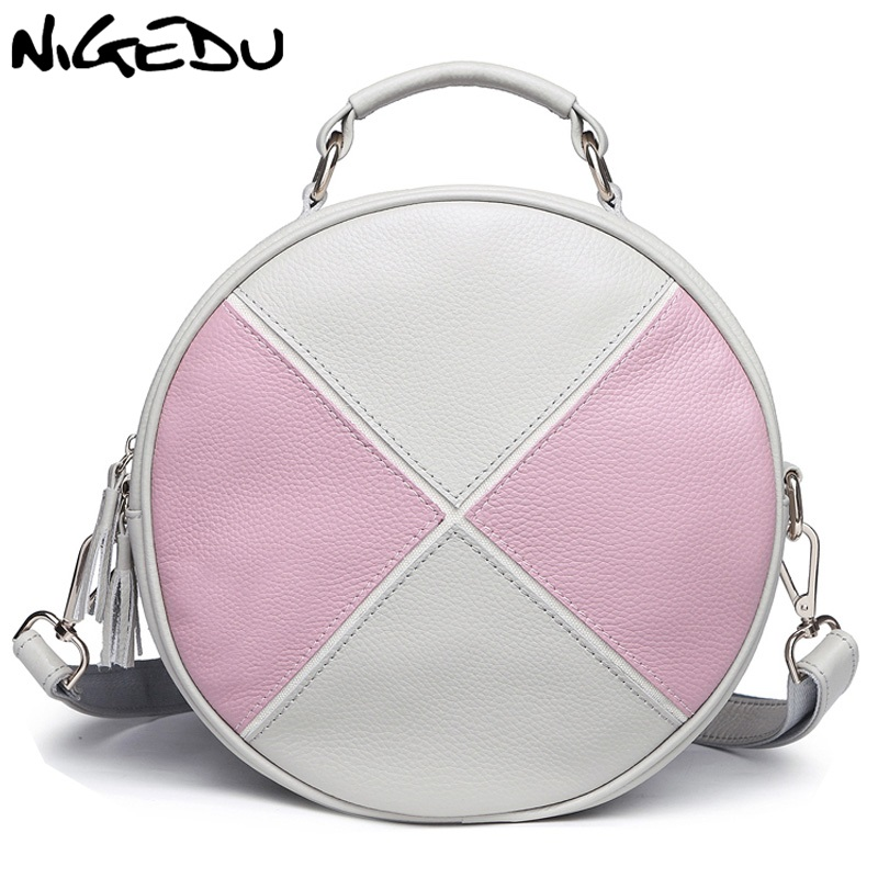 NIGEDU Brand Genuine Leather women backpack Fashion stitching ladies Round Totes Shoulder bag for girls kanken bolsas mochila цена и фото