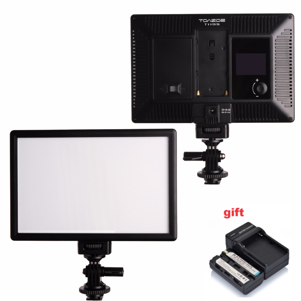 TOAZOE T119S LED Video Light Ultra thin LCD Bi Color Dimmable DSLR Studio LED Lamp Panel