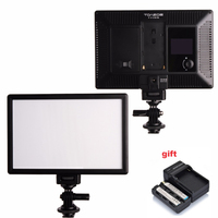 TOAZOE T119S LED Video Light Ultra thin LCD Bi Color Dimmable DSLR Studio LED Lamp Panel & F550 Battery + Charger for Camera DV