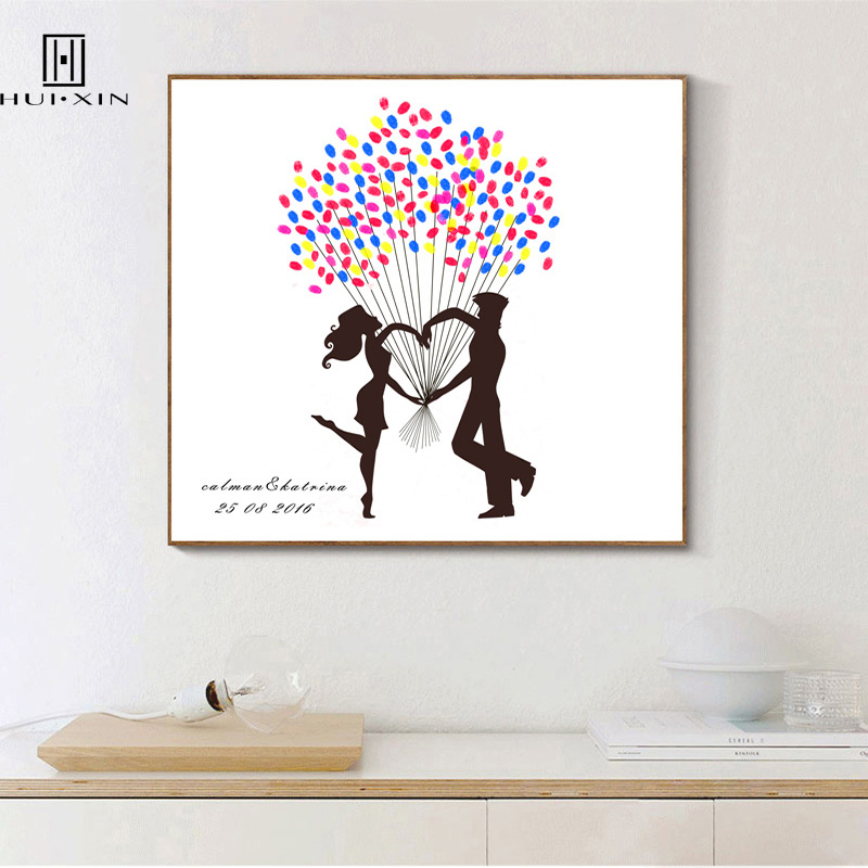 Special Design of Young Man and Woman Holding Hands in the Shape of Love DIY Fingerprint Guestbook Souvenir for Weddings