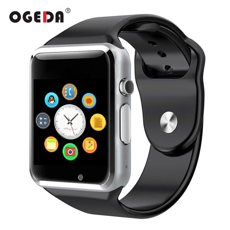 OGEDA Smart Watch A1 Men Watch Bluetooth Touch-screen Sport Pedometer With SIM Camera For Android Male Watch Smart Clock Hour 1 6 screen stainless steel bluetooth 3 0 sim camera hd dv recording pedometer 4g memory smart watch phone security msn p20