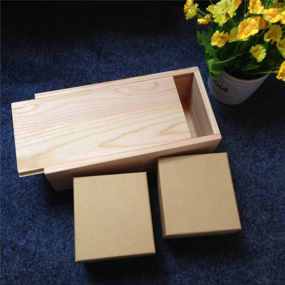 Handmade lover wooden box with sliding lid include two for Craft boxes with lids