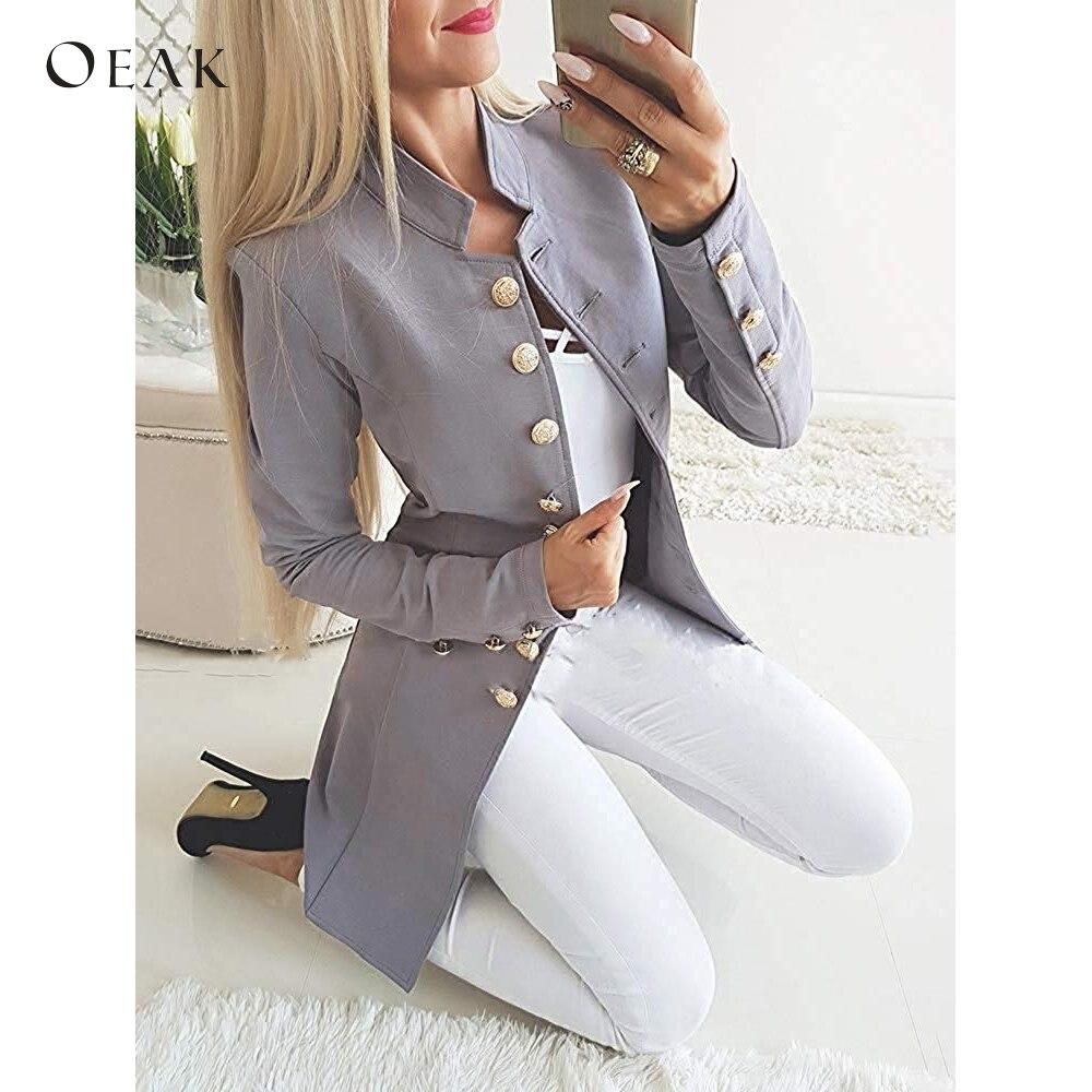OEAK Elegant Women   Trench   Autumn Winter Single Breasted Coat Female Casual Slim Coat Work Office Lady Outwear abrigos de mujer