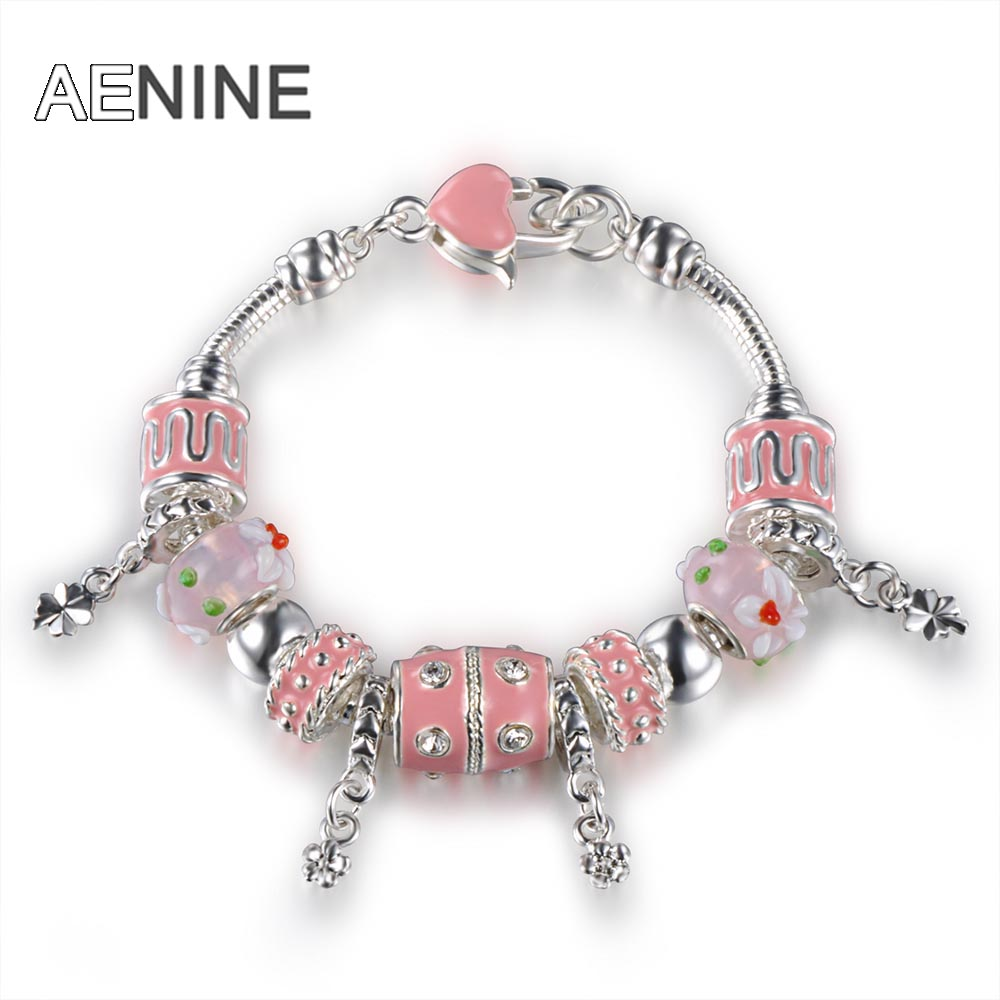 AENINE TOP Sell European Charm Bracelets For Women With Flower Black Murao Glass Beads Bangle Bracelet Jewelry 5 Colors PABR011
