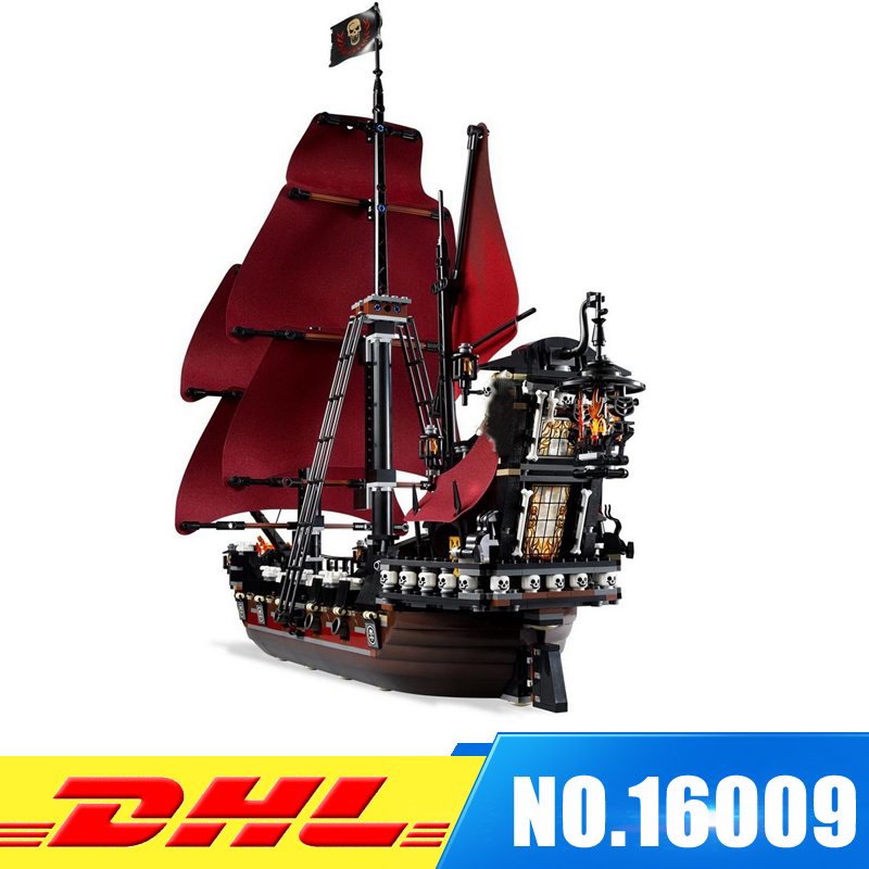 DHL Clone 4195 LEPIN 16009 1151pcs Queen Anne's revenge Pirates of the Caribbean Educational Building Blocks Set lepin 16009 caribbean blackbeard queen anne s revenge mini bricks set sale pirates of the building blocks toys for kids gift