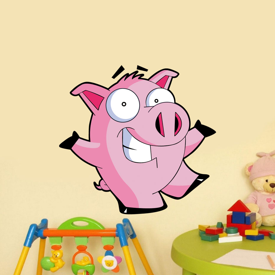 Cartoon Pink Pig Farm Color Wall Stickers For Kids Room Nursery ...