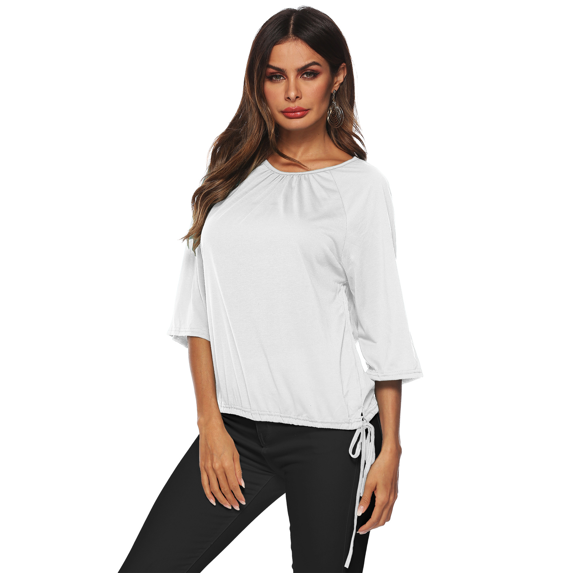 PGSD Summer solid Tee Pullover Three Quarter Sleeve O Neck Frenulum Loose casual T shirt female Simple Fashion Women Clothes in T Shirts from Women 39 s Clothing