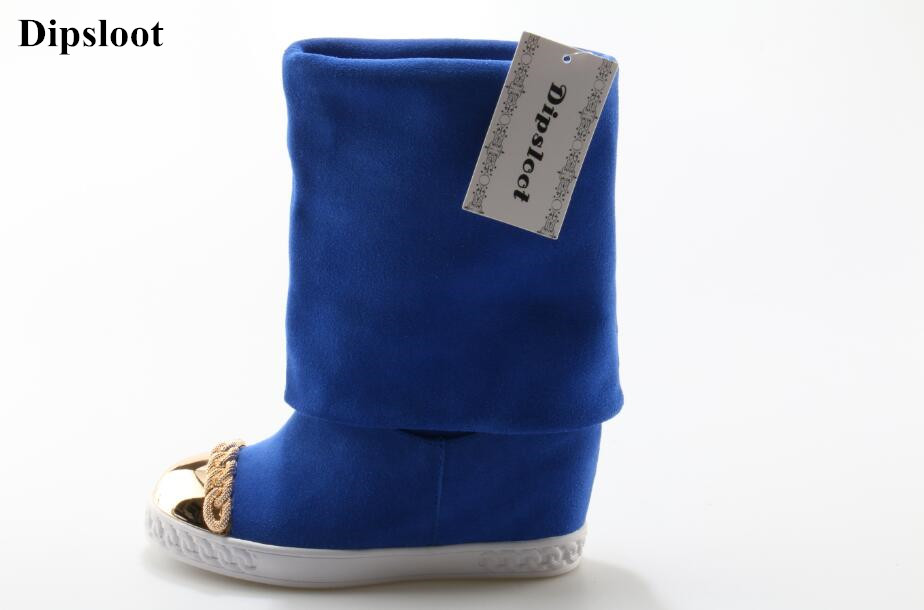 Dipsloot Free Shipping Chains Decorated Round Toe Woman Mid-calf Boots Wedges Height Increasing Shoes Woman Slip-on Shor Boots studded decorated slip on sneakers