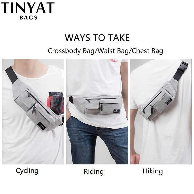 46fc3a9d90 TINYAT Belt bag Men Women Waist bag pack Travel Phone Belt Pouch  Multifunctional Fanny bag pack 4 pockets Canvas Casual Hip Bag