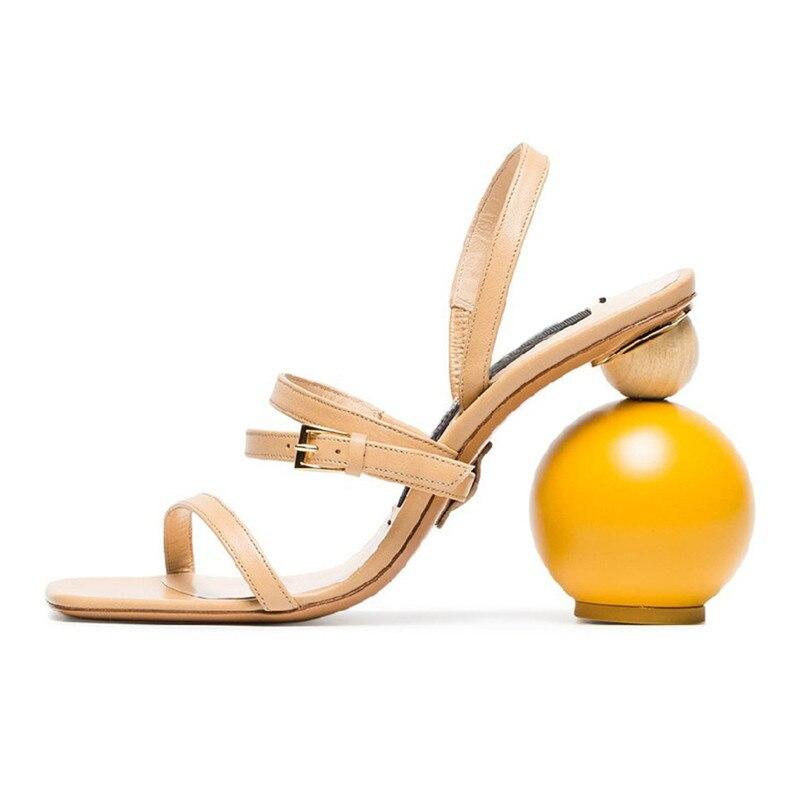 Асимметричная геометрические блоки Сандалии на каблуке Для женщин пикантные узкая полоса на высоком каблуке с открытым носком гладиаторы ... - 2