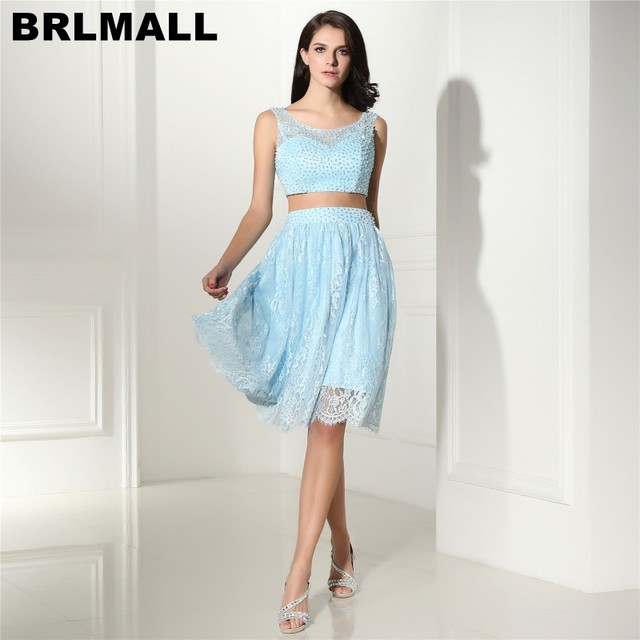 605348c7cdc0 BRLMALL Trendy Light Blue Two Pieces Homecoming Dress Lace Pearls Backless 8  grade graduation dresses 2017 Short Prom Dress
