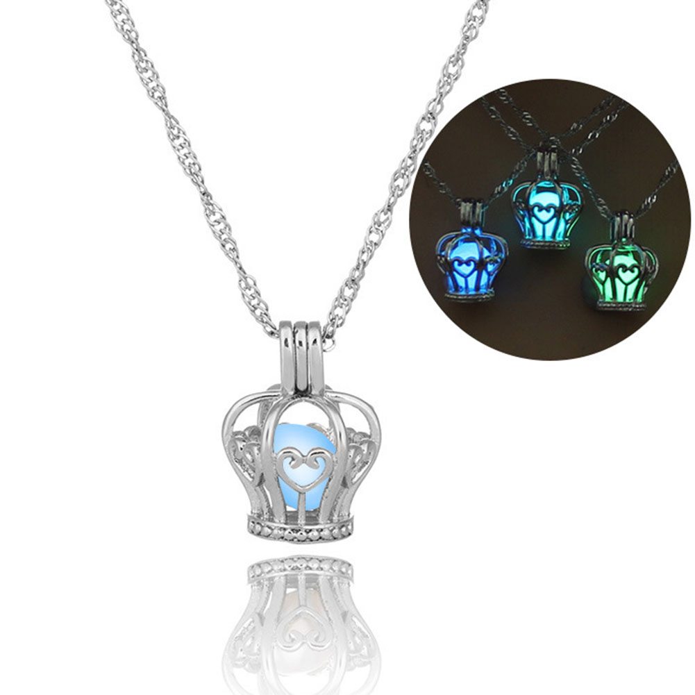 Glow In The Dark Crown Shaped Luminous Choker Collar Pendant Necklace For Women Jewelry