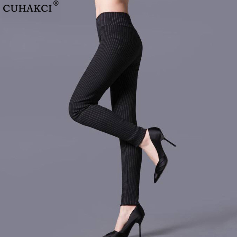 CUHAKCI Sexy Leggings Casual Trousers Striped Legging Women Black White High Waist Pants Elastic Plaid Legging Pencil Trousers
